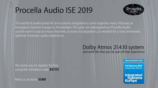 PROCELLA AUDIO GOES 21.4.10 CHANNEL ATMOS FOR ISE 2019: A TRUE CINEMATIC EXPERIENCE FOR HOME THEATER